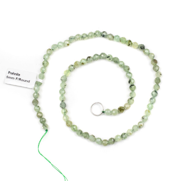 Prehnite 5mm Faceted Round Beads - 15 inch strand
