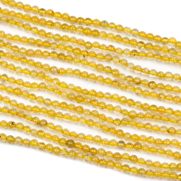 Gold Rutilated Quartz 3.7mm Round Beads - 15.5 inch strand