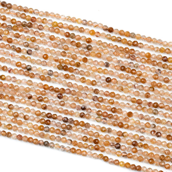 Red Rutilated Quartz 3mm Faceted Round Beads - 15 inch strand