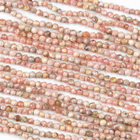 Rhodochrosite 3mm Faceted Round Beads - 15 inch strand
