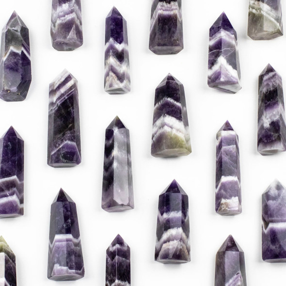 """Chevron Amethyts Crystal Point Tower - approximately .5-1x2"""""""