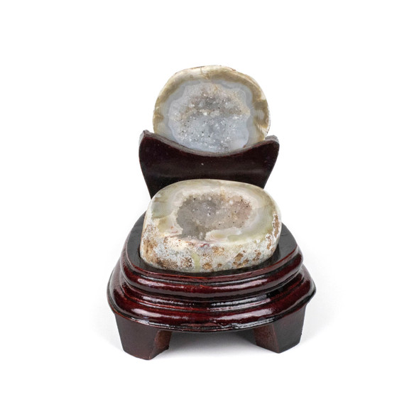 Druzy Agate Geode with Wooden Stand - #1