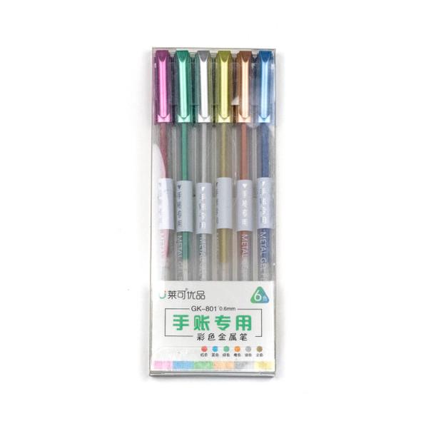 Metallic Gel Pens - 6 Assorted Colors