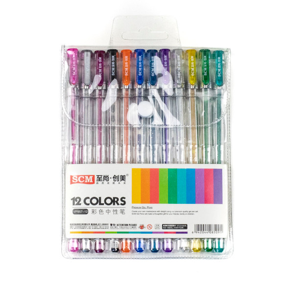 Gel Pens - 12 Assorted Colors