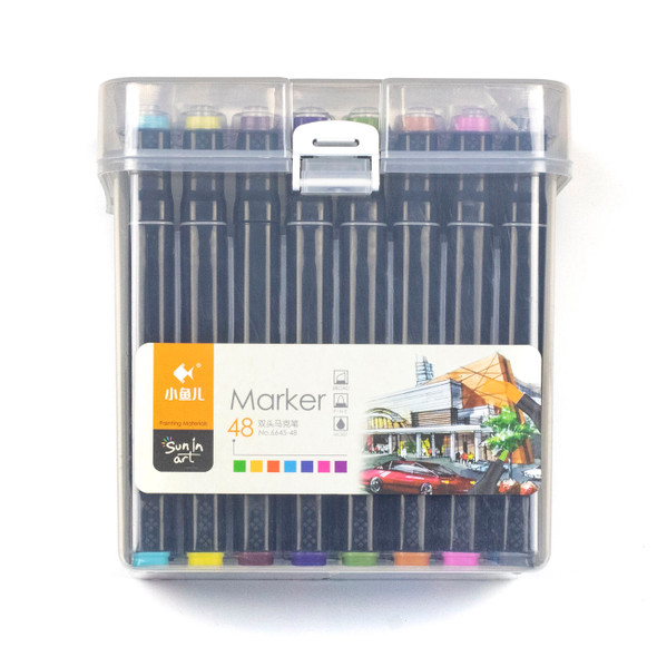 Sun In Art Markers - 48 Assorted Dark Colors with Plastic Case, Fine Point and Broad Point Markers