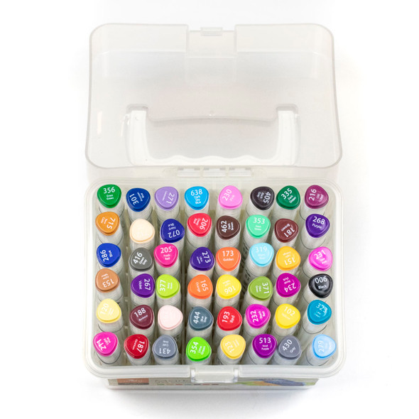 Sun In Art Markers - 48 Assorted Light Colors with Plastic Case, Fine Point and Broad Point Markers