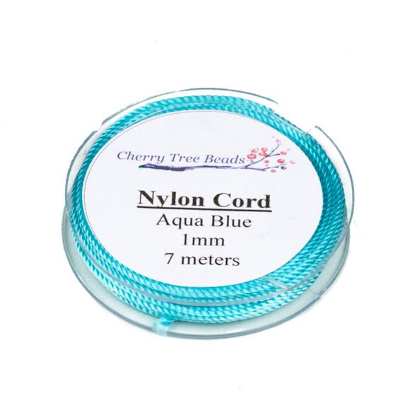 Nylon Cord - Aqua Blue, 1mm, 7 meter spool