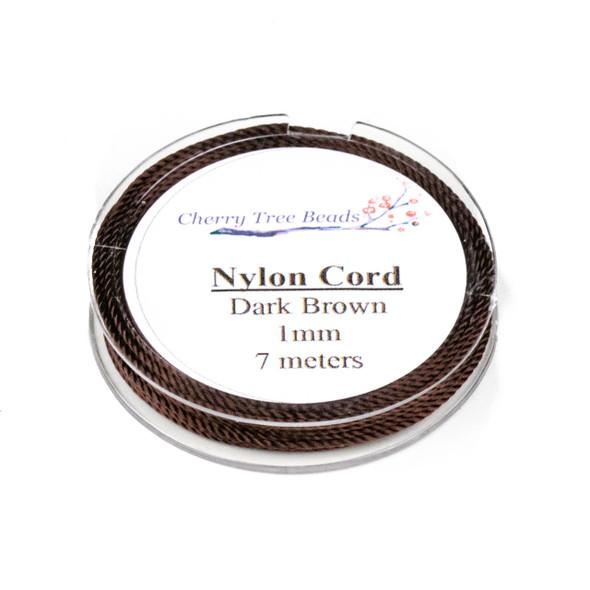 Nylon Cord - Dark Brown, 1mm, 7 meter spool