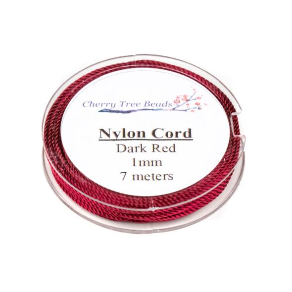 Nylon Cord - Dark Red, 1mm, 7 meter spool