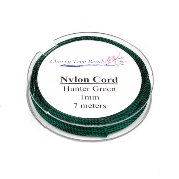 Nylon Cord - Hunter Green, 1mm, 7 meter spool