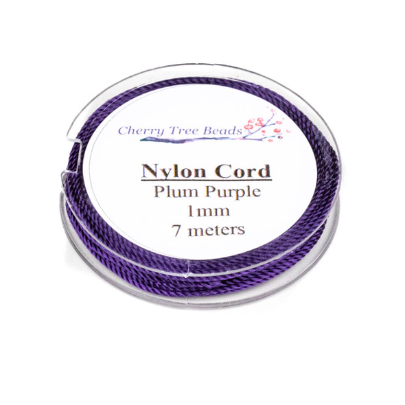 Nylon Cord - Plum Purple, 1mm, 7 meter spool