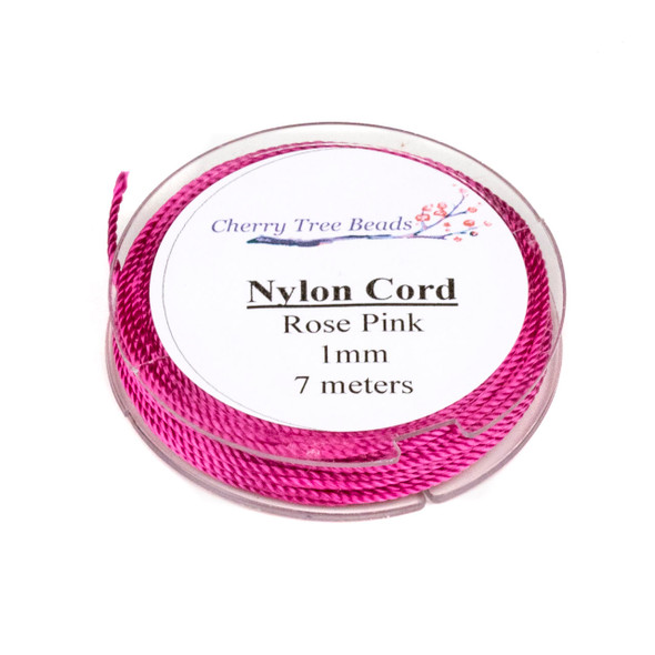 Nylon Cord - Rose Pink, 1mm, 7 meter spool