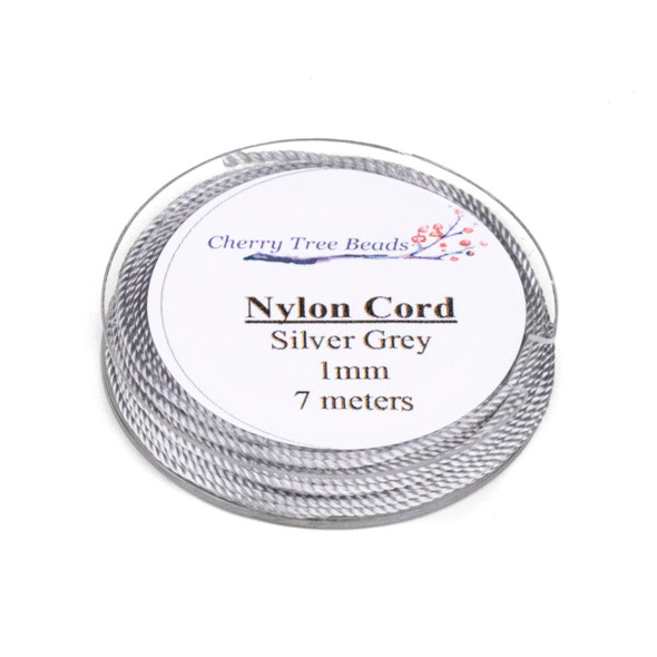 Nylon Cord - Silver Grey, 1mm, 7 meter spool