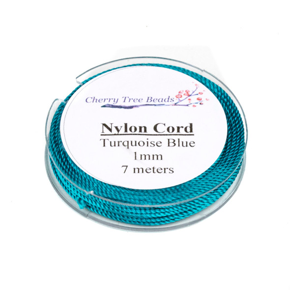 Nylon Cord - Turquoise Blue, 1mm, 7 meter spool