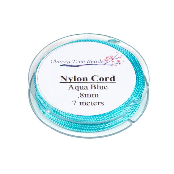 Nylon Cord - Aqua Blue, .8mm, 7 meter spool