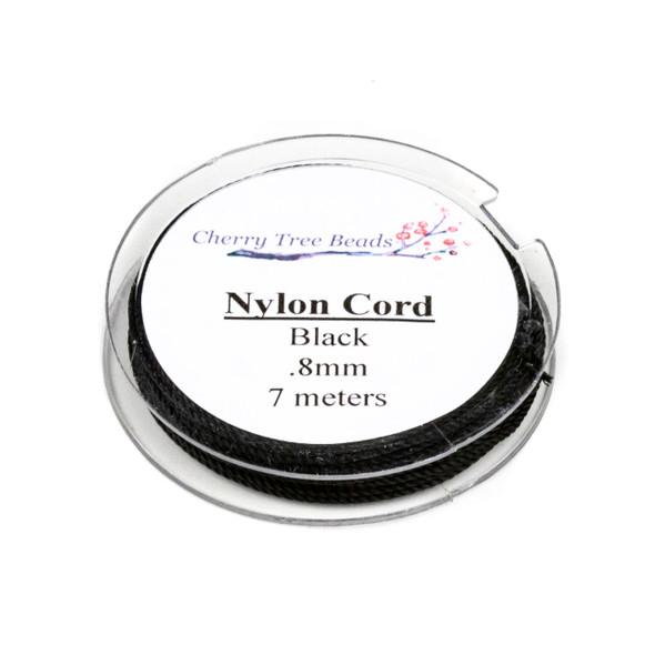 Nylon Cord - Black, .8mm, 7 meter spool
