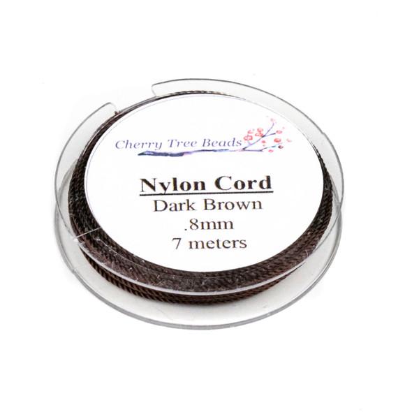 Nylon Cord - Dark Brown, .8mm, 7 meter spool