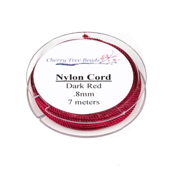 Nylon Cord - Dark Red, .8mm, 7 meter spool