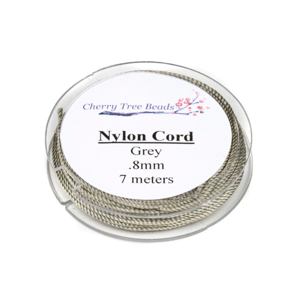 Nylon Cord - Grey, .8mm, 7 meter spool