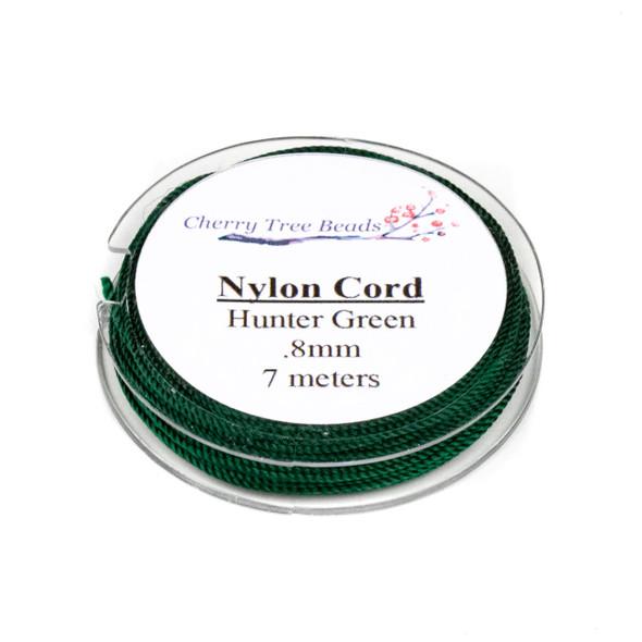 Nylon Cord - Hunter Green, .8mm, 7 meter spool