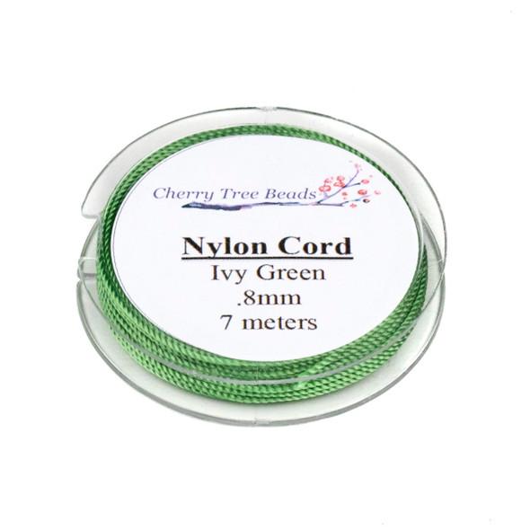 Nylon Cord - Ivy Green, .8mm, 7 meter spool