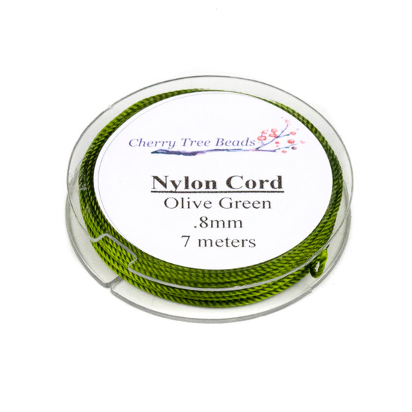 Nylon Cord - Olive Green, .8mm, 7 meter spool