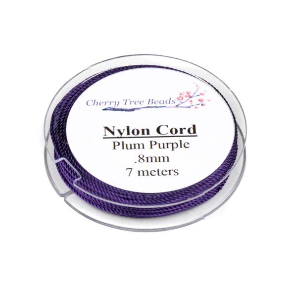 Nylon Cord - Plum Purple, .8mm, 7 meter spool