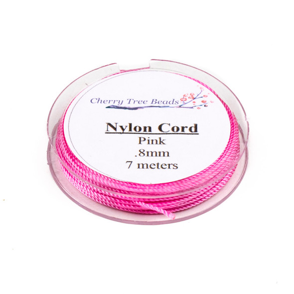 Nylon Cord - Pink, .8mm, 7 meter spool