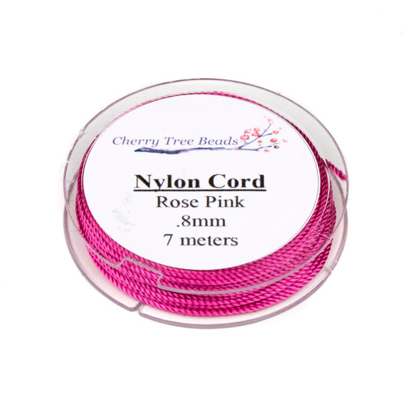 Nylon Cord - Rose Pink, .8mm, 7 meter spool