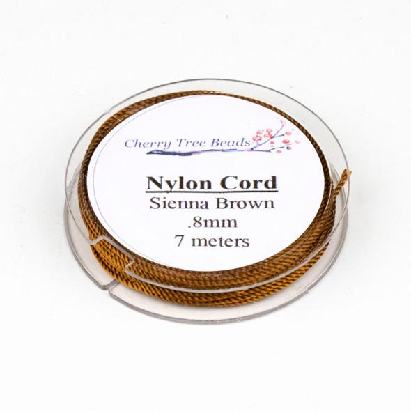 Nylon Cord - Burnt Sienna, .8mm, 7 meter spool