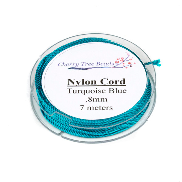 Nylon Cord - Turquoise Blue, .8mm, 7 meter spool