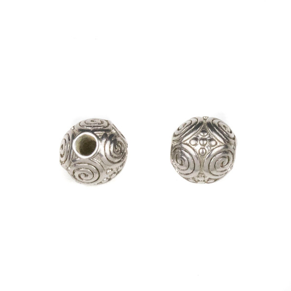 Natural Stainless Steel 8mm Guru Bead with Spirals - ZN-65921, 1 per bag