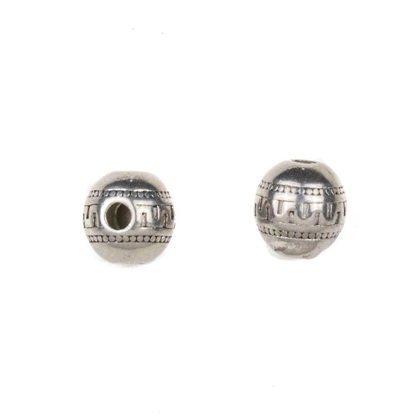 Natural Stainless Steel 8mm Guru Bead with Tribal Band - ZN-65929, 10 per bag