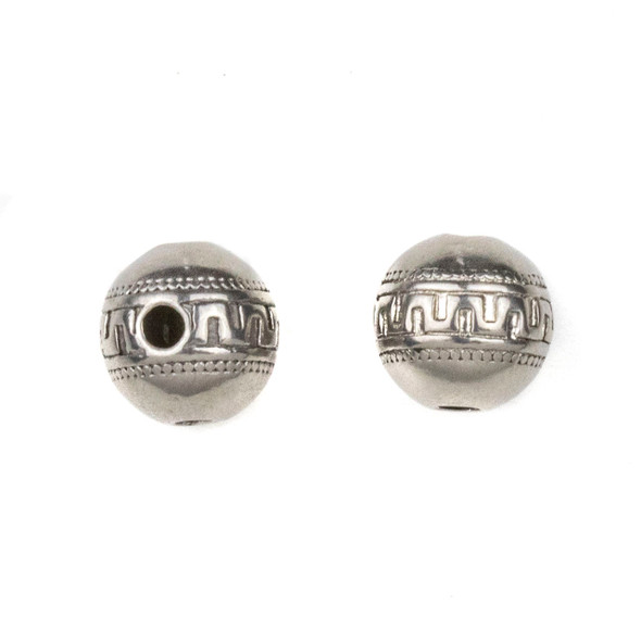 Natural Stainless Steel 10mm Guru Bead with Tribal Band - ZN-65929, 10 per bag