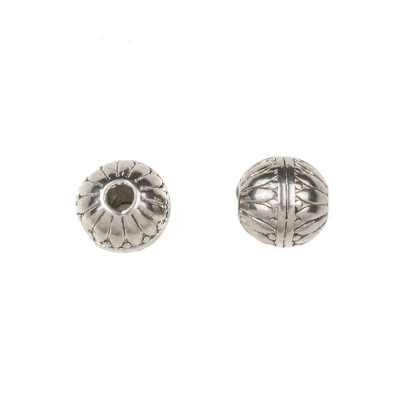 Natural Stainless Steel 8mm Guru Bead with Petals and Stripes - ZN-65961, 10 per bag