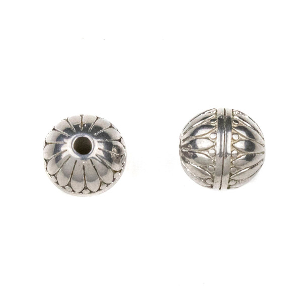 Natural Stainless Steel 10mm Guru Bead with Petals and Stripes - ZN-65961, 1 per bag