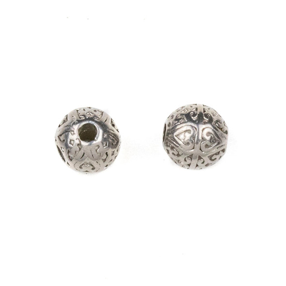 Natural Stainless Steel 8mm Guru Bead with Heart Pattern - ZN-65977, 1 per bag