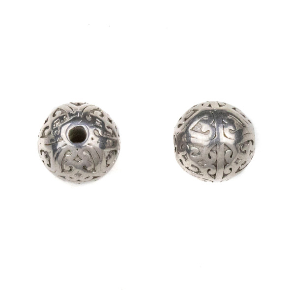 Natural Stainless Steel 10mm Guru Bead with Heart Pattern - ZN-65977, 1 per bag