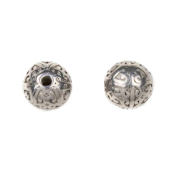 Natural Stainless Steel 10mm Guru Bead with Heart Pattern - ZN-65977, 1 per bag