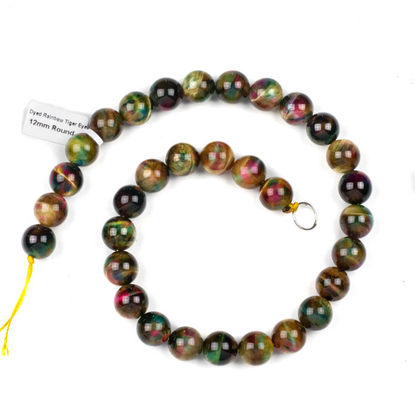 Rainbow Tigereye 12mm Round Beads - 15 inch strand