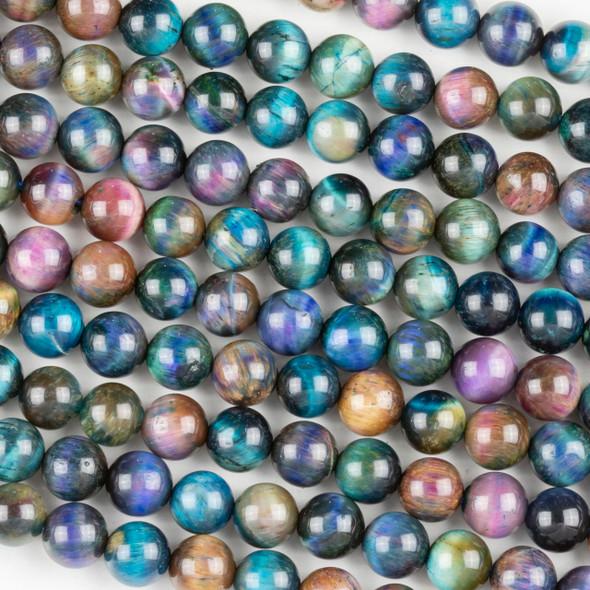 Purple Tigereye 8mm Round Beads - 15.5 inch strand
