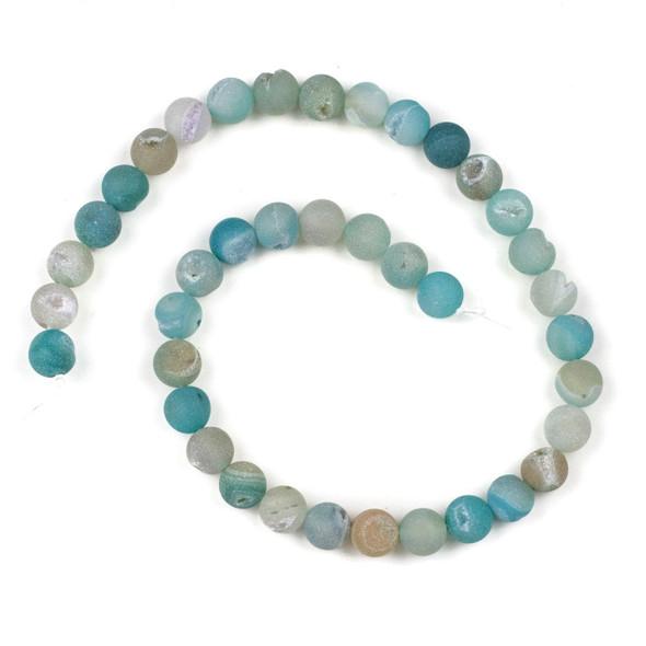 Druzy Agate Aqua 10mm Round Beads -  15 inch strand