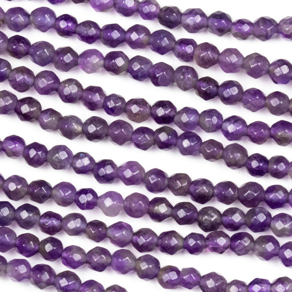 Amethyst Faceted 4mm Round Beads - approx. 8 inch strand, Set B