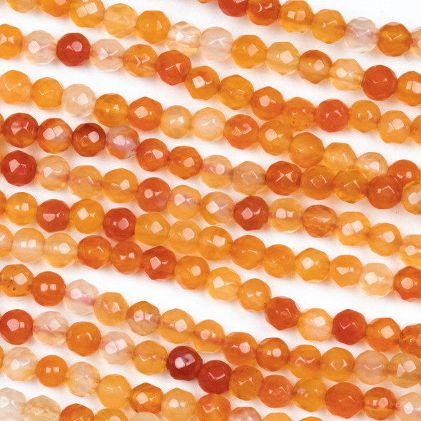 Multicolor Carnelian Faceted 4mm Round Beads - approx. 8 inch strand, Set B
