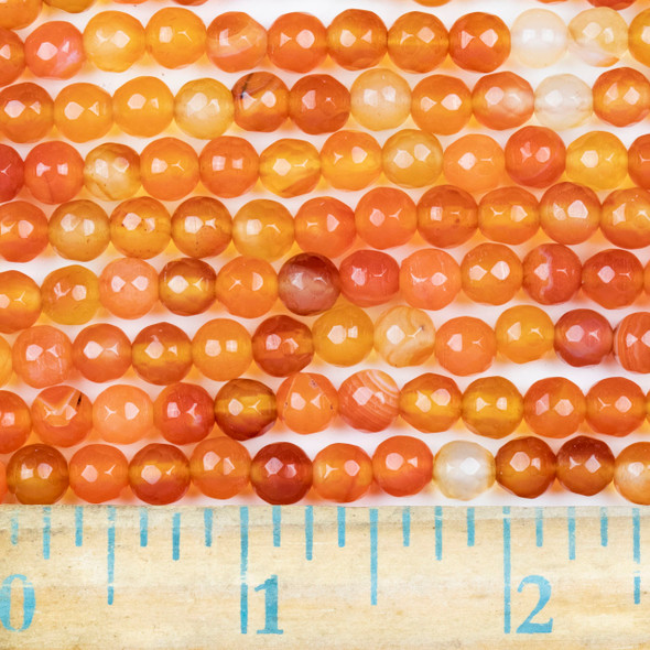 Multicolor Carnelian Faceted 6mm Round Beads - approx. 8 inch strand, Set B