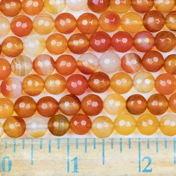 Multicolor Carnelian Faceted 8mm Round Beads - approx. 8 inch strand, Set B