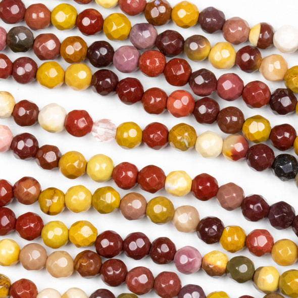 Mookaite Faceted 4mm Round Beads - approx. 8 inch strand, Set B