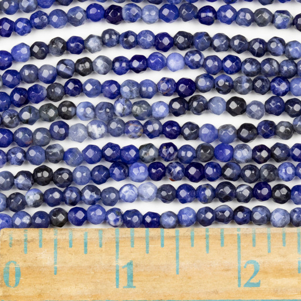 Sodalite Faceted 4mm Round Beads - approx. 8 inch strand, Set B