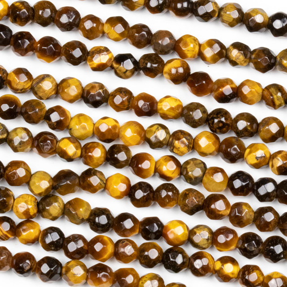 Yellow Tigereye Faceted 4mm Round Beads - approx. 8 inch strand, Set B
