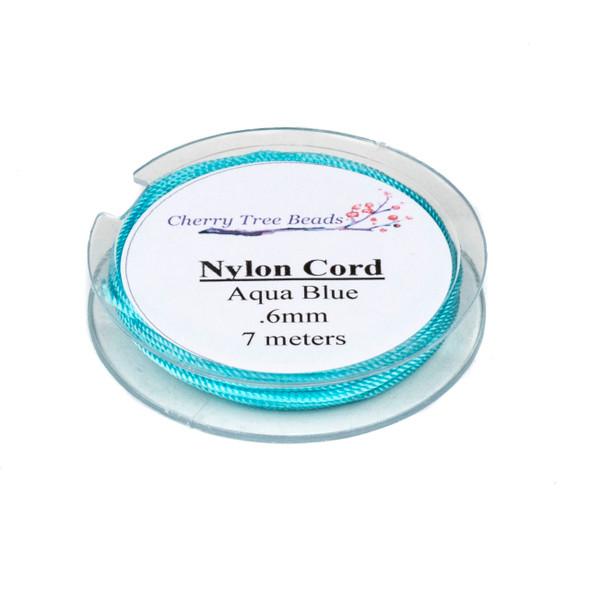 Nylon Cord - Aqua Blue, .6mm, 7 meter spool